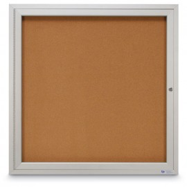 "36 x 36"" Single Door Illuminated Outdoor Enclosed Corkboards"
