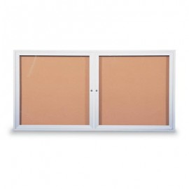 "72 x 36"" Double Door Standard Indoor Enclosed Corkboards"