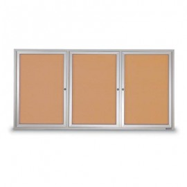 "72 x 48"" Triple Door Illuminated Outdoor Enclosed Corkboards"
