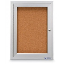 "18 x 24"" Single Door Illuminated Outdoor Enclosed Corkboards"