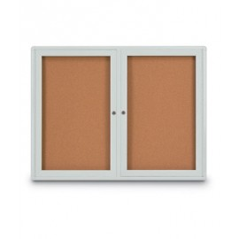 "42 x 32"" Double Door Radius Corner- Indoor Enclosed Corkboard"