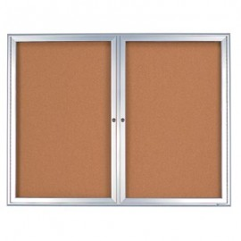 "60 x 36"" Double Door Standard 4"" Radius Frame Enclosed Corkboard"