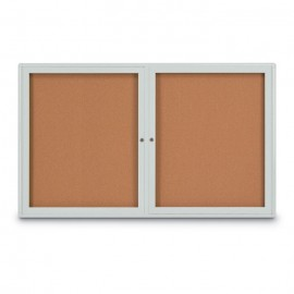 "60 x 36"" Double Door Radius Corner- Indoor Enclosed Corkboard"