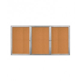 "96 x 36"" Triple Door Radius Frame- Indoor Enclosed Corkboard"