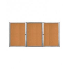 """96 x 36"""" Triple Door Radius Frame- Indoor Enclosed Corkboard"""