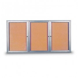 "72 x 48"" Triple Door Radius Frame- Indoor Enclosed Corkboard"