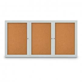 "72 x 36"" Triple Door Radius Corner- Indoor Enclosed Corkboard"