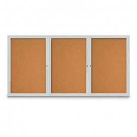 "96 x 48"" Triple Door Radius Corner- Indoor Enclosed Corkboard"