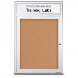 "24 x 36"" Single Door w/ Illuminated Header 4"" Radius Frame Enclosed Corkboard"