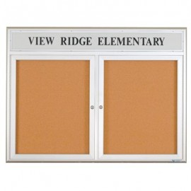 "60 x 36"" Double Door w/ Illuminated Header 4"" Radius Frame Enclosed Corkboard"