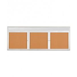 """96 x 36"""" Triple Door Radius Frame w/ Header- Indoor Enclosed Corkboard"""