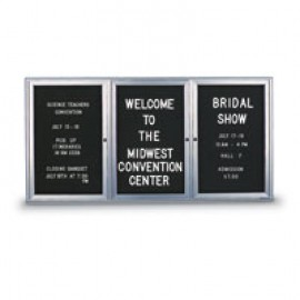 "72 x 36"" Triple Door Standard Indoor Enclosed Letterboard with Radius Frame"