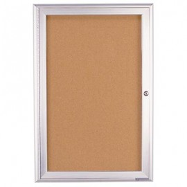 "24 x 36"" Single Door Illuminated 4"" Radius Frame Enclosed Corkboard"