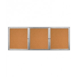 "96 x 36"" Triple Door Radius Frame- Outdoor Enclosed Corkboard"