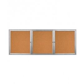 "96 x 36"" Triple Door Radius Frame w/ Header- Outdoor Enclosed Corkboard"