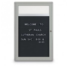 "24 x 36"" Single Door Indoor Enclosed Letterboard with Radius Frame w/ Header"