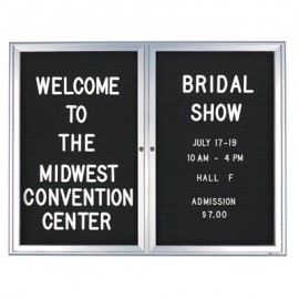 "60 x 36"" Double Door Standard Outdoor Enclosed Letterboard with Radius Frame"