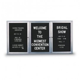 "72 x 36"" Triple Door Outdoor Enclosed Letterboard with Radius Frame"