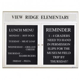"48 x 36"" Double Door Outdoor Enclosed Letterboard with Radius Frame w/ Header"