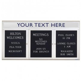 "72 x 36"" Triple Door Outdoor Enclosed Letterboard with Radius Frame w/ Header"