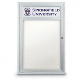 """24 x 36"""" Single Door Outdoor Enclosed Dry/Wet Erase Board w/ Header"""