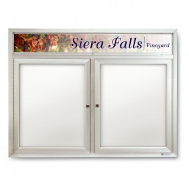 "42 x 32"" Double Door Indoor Enclosed Dry/Wet Erase Board w/ Header"