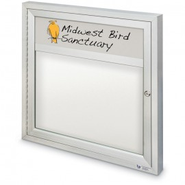 "36 x 36"" Single Door Outdoor Enclosed Dry/Wet Erase Board w/ Header"
