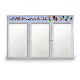 "72 x 48"" Triple Door Outdoor Enclosed Dry/Wet Erase Board w/ Header"