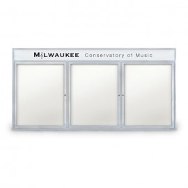 "96 x 48"" Triple Door Outdoor Enclosed Dry/Wet Erase Board w/ Header"