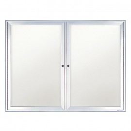"42 x 32"" Double Door Standard Radius Indoor Standard Radius Enclosed Dry/Wet Erase Board"