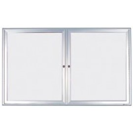 "48 x 36"" Double Door Standard Radius Indoor Standard Radius Enclosed Dry/Wet Erase Board"