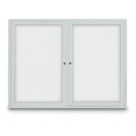 "96 x 48"" Triple Door Standard Radius Frame Indoor Enclosed Dry/Wet Erase Board"