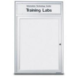 "24 x 36"" Single Door Standard Radius Frame Indoor Enclosed Dry/Wet Erase Board w/ Header"