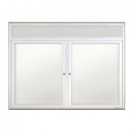 "42 x 32"" Double Door Standard Radius Indoor Standard Radius Enclosed Dry/Wet Erase Board w/ Header"
