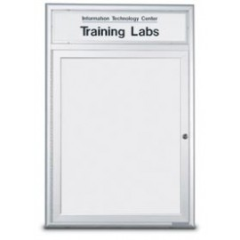 "96 x 48"" Triple Door Standard Radius Frame Indoor Enclosed Dry/Wet Erase Board w/ Header"