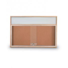 "36 x 24"" Standard Wood Sliding Door Corkboards w/ Illuminated Header"
