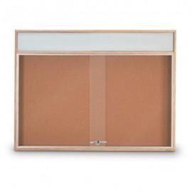 "48 x 36"" Standard Wood Sliding Door Corkboards w/ Illuminated Header"