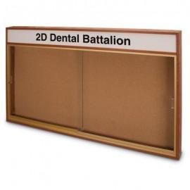 "60 x 36"" Standard Wood Sliding Door Corkboards w/ Illuminated Header"