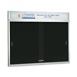 "60 x 36"" Sliding Glass Door Enclosed Letterboard W/ Header"