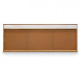 "96 x 36"" Standard Wood Sliding Door Corkboards w/ Header"