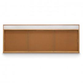 """96 x 36"""" Standard Wood Sliding Door Corkboards w/ Header"""