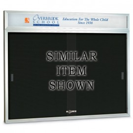 "96 x 48"" Sliding Glass Door Enclosed Letterboard W/ Header"