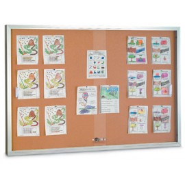 "60 x 36"" Sliding Glass Door Corkboards with Traditional Frame"