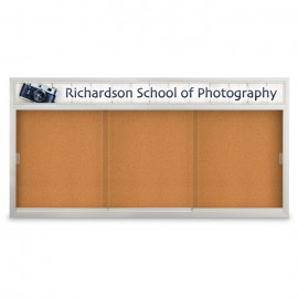 "96 x 48"" Sliding Glass Door Corkboards with Traditional Frame w/ Header"