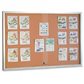 "60 x 36"" Sliding Glass Corkboards with Radius Frame"