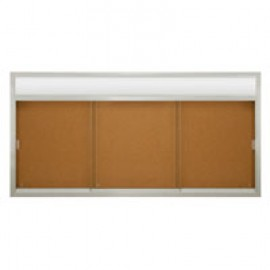 "96 x 48"" Sliding Glass Corkboards with Radius Frame w/ Header"
