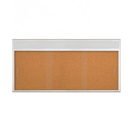 "96 x 36"" Sliding Glass Corkboards with Radius Frame w/ Header"