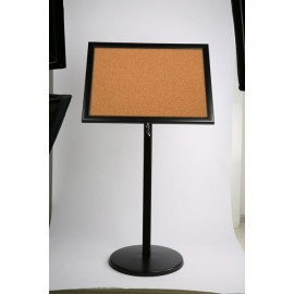 "Poster Board on Curved Post with Cork 4x8.5""x11"" Viewable Area Landscape/Portrait use Black"