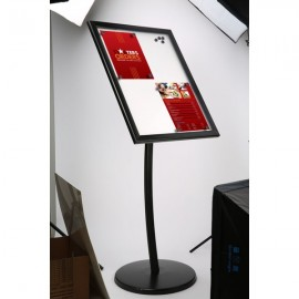 "Poster Board on Curved Post with Magnet 4x8.5""x11"" Viewable Area Landscape/Portrait use Black"