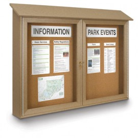 "45 x 36"" Double Door Enclosed Cork Message Center"